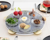 Passover plate, Feminist Seder Plate Inspired by Miriam's Tambourine Acrylic Tray Hebrew Words Engraved, Brass Cymbals, 6 Glass Bowls