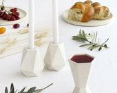 Modern Judaica Shabbat Set, Pair of Shabbos Candlesticks + Kiddush Cup,  Jewish Wedding Gift, Handmade in Israel