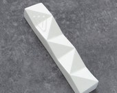 "Modern Mezuzah case, Contemporary Judaica,White geometric Mezuzah case, Jewish wedding housewarming gift fits a 4"" scroll, kosher scroll"