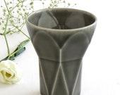 Jewish Bar Mitzvah Gift Handmade Kiddush Cup Ceramic with Grey Glaze, Geometric Style, Minimalist Wine Goblet