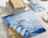 Matzah cover & Afikomen bag set, 15''X15''- Blue and White , Indigo Shibori Matzo cover and Afikoman bag, Modern Judaica, Hand dyed . No.3