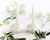 Pair of Shabbat Candleholders, Geometric White Ceramic Candlesticks, Modern Judaica, Trendy passover Gift, Handmade in Israel