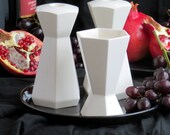 Rosh Hashanah Gift, Modern Judaica Shabbat Set, Pair of Hexagon Candlesticks + Kiddush Cup + Black Plate Jewish Wedding Gift, Made in Israel