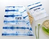 Passover table Matzah cover & Afikomen bag set, White and Indigo Shibori Matzo cover and Afikoman bag, Modern Judaica Hand dyed No.18_20