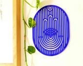Blue Wall Art, Hamsa Decor, Modern Home Decor, New Home Gift, Hamsa Wall Art, Hamsa Wall Hanging, Hand of Fatima Decor, Wall Hamsa