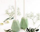 Pale Green Ceramic Shabbat Candlesticks, Geometric Candleolder, Modern Judaica, Made in Israel