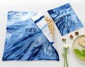 Passover 2019 Matzah cover & Afikomen bag set, White and Indigo Shibori Matzo cover and Afikoman bag, Modern Judaica, Hand dyed.No.13_20