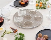 Passover Gift - Minimalist Seder Plate with Geometric Pattern Golden Acrylic  with 6 Glass Plates  Judaica Jewish Gift | Short Term Pre Sale