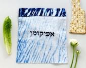 Afikomen bag, Blue and White , Indigo Shibori Afikoman bag, Modern Judaica, Hand dyed . No.2_20