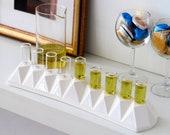 Jewish Wedding Gift, Hanukkah Oil Menorah, Modern geometric Judaica, White Ceramic Contemporary Judaica Origami Inspired. Handmade in Israel