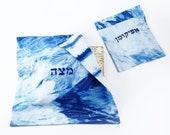 Passover table Matzah cover & Afikomen bag set, Blue and White Indigo Shibori Matzo cover and Afikoman bag, Modern Judaica Hand dyed No.3_20