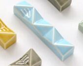 "Modern Mezuzah case, Light Blue geometric Mezuza, Jewish wedding housewarming gift , mezuzah fits a 4""  kosher scroll"