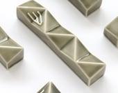 "Modern Mezuzah case Contemporary Judaica Grey geometric Mezuzah case - Jewish wedding housewarming gift fits a 4"" scroll"