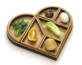 Wooden Heart Tangram Seder plate and Matzo tray,Passover gift, Pesach table, Modern Judaica gift for Pessah hostess