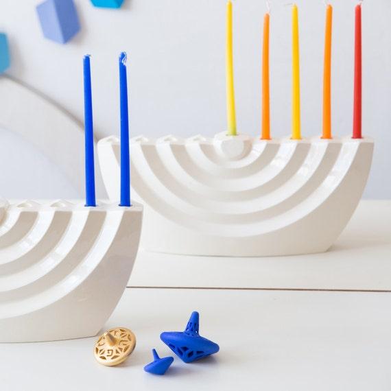 modern hanukkah menorah wavy white ceramic chanukia etsy
