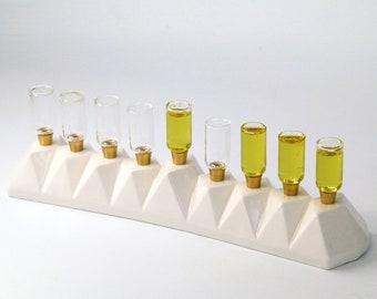 Menorah for Oil/ Wax Candles, Minimalist Hanukkah Menorah , Handmade in Israel, White Ceramic Modern Menorah, Oil Menorah, Gift from Israel