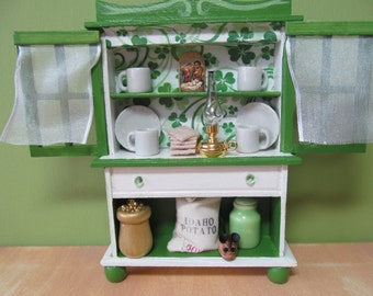 St Patrick's Day Dollhouse Cabinet 1:12 scale Minature Irish Cupboard