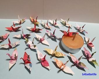 JD Paper Series Lot of 100pcs 1.5 Floral Design Hand-folded Origami Paper Cranes. #FC15-84e.
