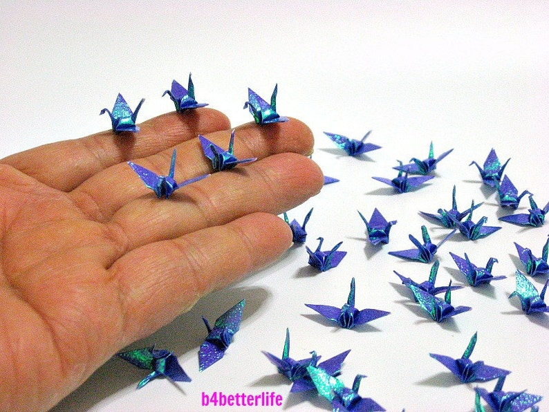 100pcs Dark Blue Color 1-inch Origami Cranes Hand-folded From 1