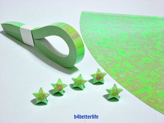 200 Strips Green Color Mini Size Lucky Stars Origami Paper Etsy