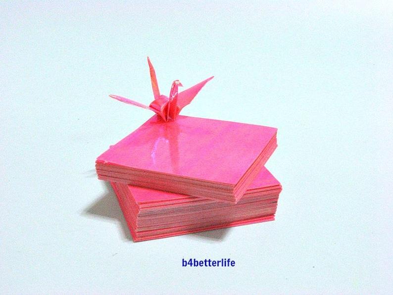 200 Sheets 2 x 2 Pink Color DIY Chiyogami Yuzen Paper Folding Kit for Origami Cranes Tsuru. AV paper series #CRK-26.