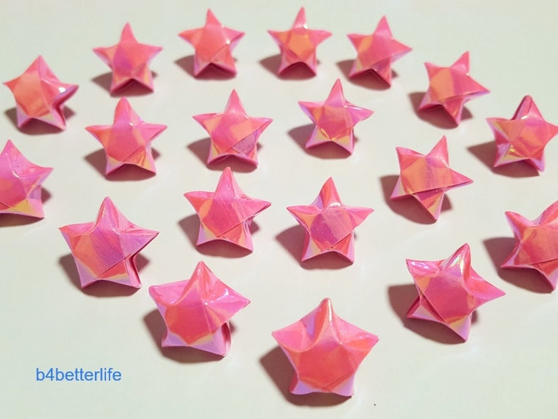 AV paper series 500pcs Pink Color Medium Size Origami Lucky Stars Hand-folded From 24.5 x 1.2cm Paper Strips. #FOS-41.