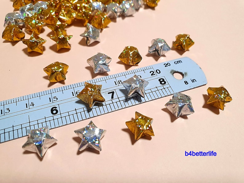 4D Glittering paper series 500pcs Gold /& Silver Color Tiny Size Origami Paper Stars Hand-folded From 16.5 x 0.8cm Paper Strips. #FOS-53.