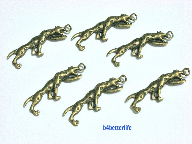 #BC2876. Lot of 24pcs Antique Bronze Tone Leopard Double Sided Metal Charms