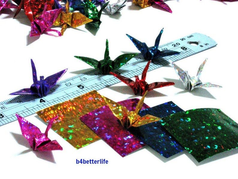 4D Glittering paper series #FC15-05. 100pcs Assorted Colors Origami Cranes Hand-folded From 1.5x1.5 Square Paper.