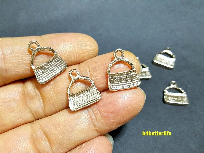 Lot of 24pcs Double Sided Handbag Gold Color Tone Metal Charms #XX493.