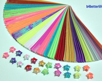 Pack of 200 Strips Tiny Lucky Stars Origami Paper Kit. 16.5cm x 0.8cm. (AV paper series). #SPK-112.
