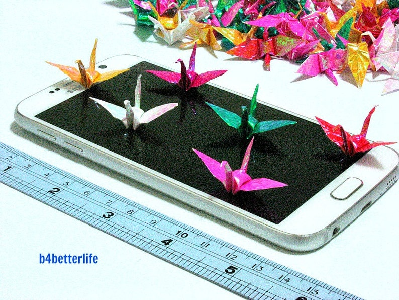 1.30 inches CY paper series Origami Cranes Hand-folded From 3.3cm x 3.3cm Square Paper. #FCA-8. 250pcs Assorted Colors 3.3cm