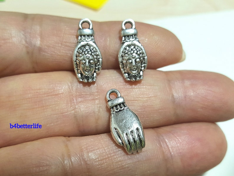 Lot of 24pcs Antique Silver Tone Double Sided Buddha Hand Metal Charms #JL3298.