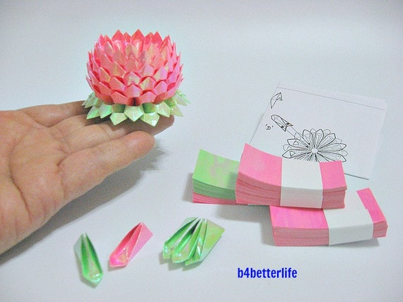 TX paper series FLT-30. Lot of 21pcs Small Size Origami Lotus In Assorted Colors.