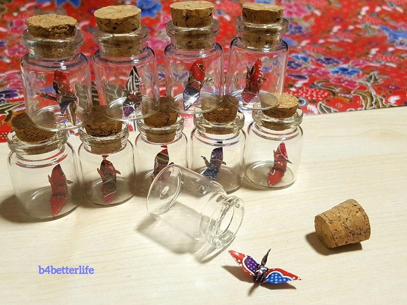Lot Of 20pcs Batik Design 1-inch Hand-folded Paper Crane In Mini Glass Bottle With Cork. #CIB20k. WR paper series