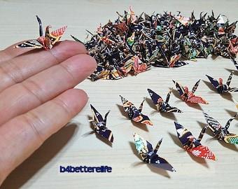 """Lot of 100pcs Batik Design 1.5"""" Hand-folded Origami Paper Cranes. #FC15-66. (WR Paper Series)."""