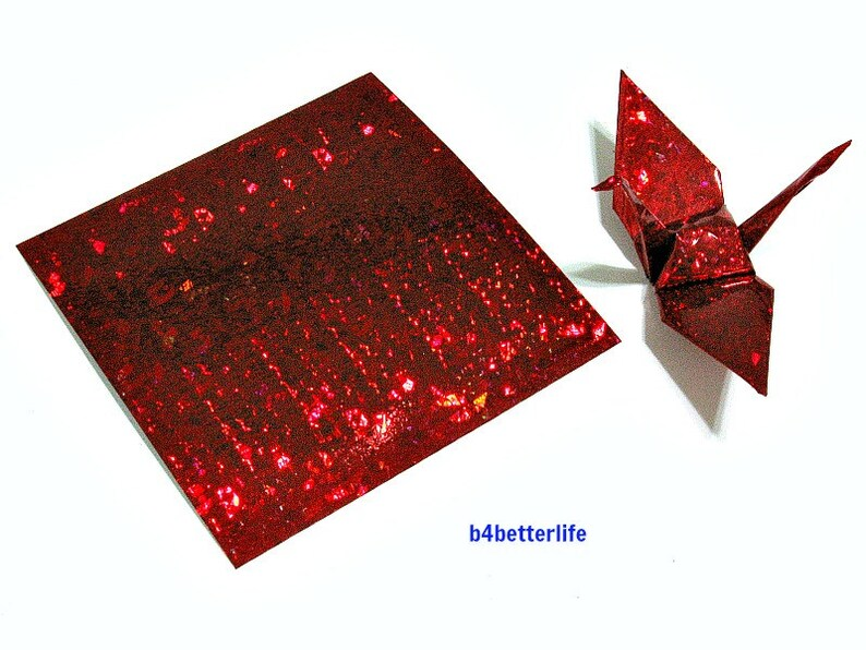 100 Sheets 3 x 3 Red Color DIY Chiyogami Yuzen Paper Folding Kit for Origami Cranes Tsuru. 4D Glittering paper series #CRK-34.