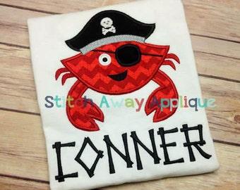 pirate crab applique etsy