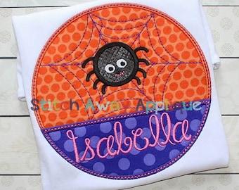 Halloween Spider Web Patch Machine Applique Design