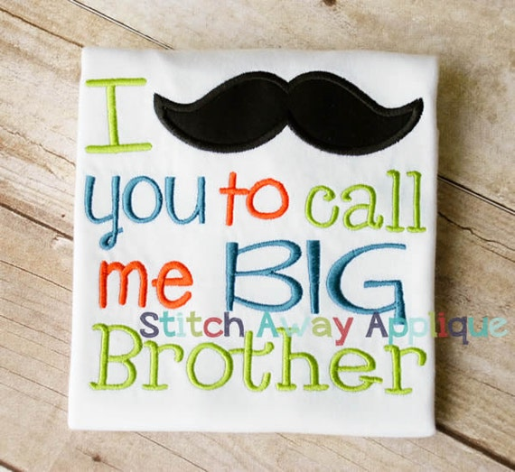 Mustache Big Brother Pregnancy Sibling Announcement Machine Etsy