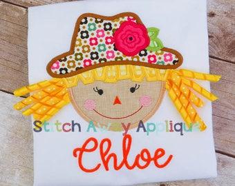 Scarecrow Girl 3D Curls Fall Machine Applique Design