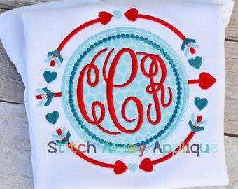 Arrow Heart Circle Monogram Valentine's Day Machine Applique Design