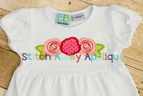 Rose trio machine embroidery applique design etsy