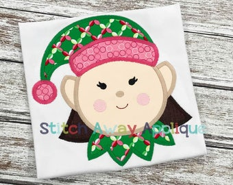 Elf GIrl 4 Christmas Machine Applique Design