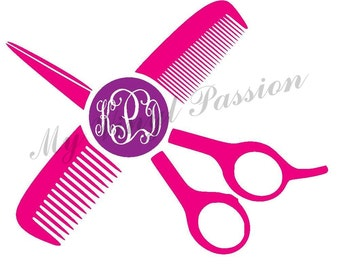 Monogrammed Hair Stylist Car Decal; Personalized Hair Dresser Car Decal; Hair Dresser Car Decal; Scissors and Comb Decal