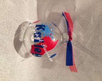 Swimming Christmas Ornament Personalized w/ name and customizable colors, decorated with coordinating ribbons