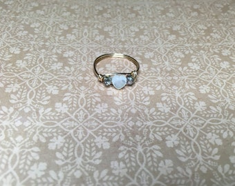 Mother of pearl and crystal heart ring