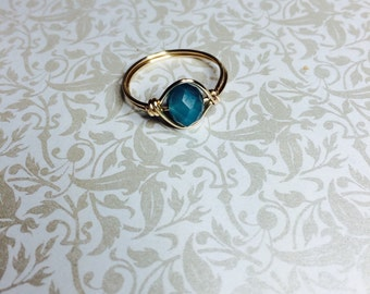 Blue mirror crystal wire wrapped ring