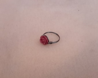 Plum rose wire wrapped ring