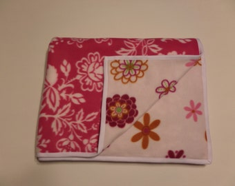 Pink and Multi Colored Floral Fleece Blanket